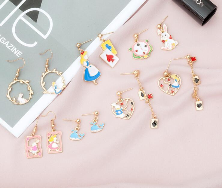 여자 여성 일본과 한국 스타일의 귀 보석에 대한 매력 Earings 귀여운 만화 비대칭 기하학적 중공 신선한 후크 귀걸이
