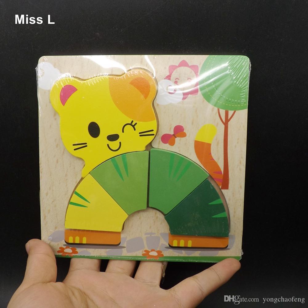 Cute Cat Jigsaw Puzzles Educational 3D Wooden Toys Babys Cartoon Animals Model Kid Intelligence Development Toy