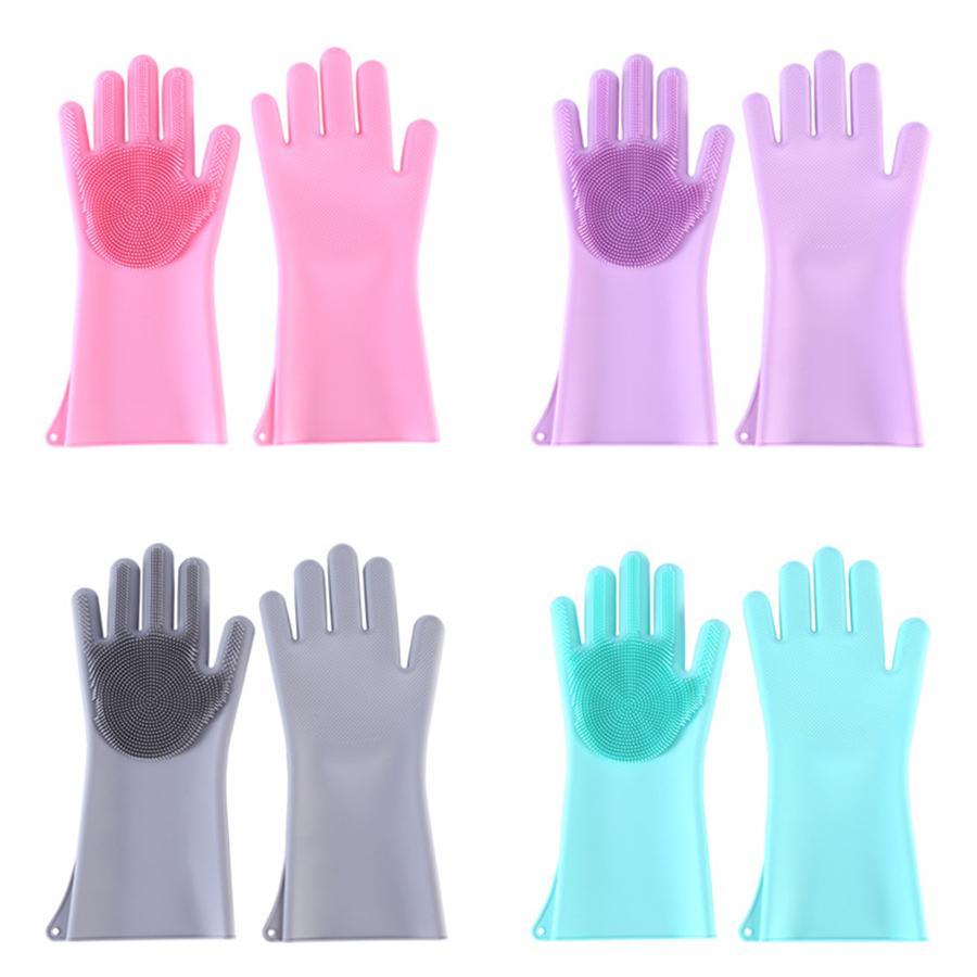 Волшебные силиконовые перчатки для мытья посуды Губка для мытья посуды резиновый скруббер многоразовая щетка для чистки кухни, автомойки и ухода за домашними животными JK2003