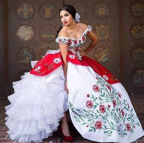 2019 자 수 비즈와 함께 최신 흰색과 빨간색 빈티지 Quinceanera 드레스 달콤한 16 무도회 데뷔 커플 드레스 파티 무도회 파티 AL10
