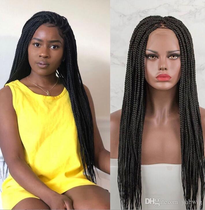 10A Caja afroamericana trenzas Peluca de pelo Peluca de encaje Peluca delantera 200% Peluca de encaje de pelo sintético de color negro para mujeres negras Envío libre