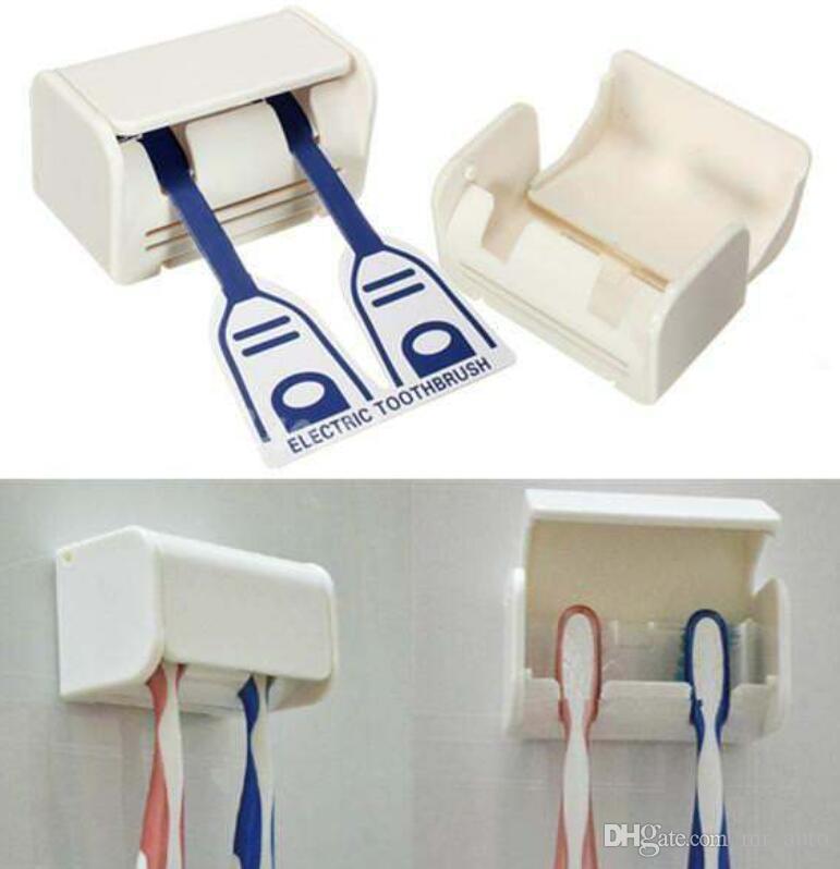 Cepillo de dientes eléctrico pared del estante del sostenedor del soporte palo de baño a prueba de polvo montado en la pared eléctrico cepillo de dientes titular Baño herramienta KKA6592