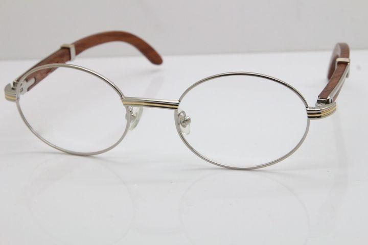 Wholesale 7550178 Wood Eyeglasses designer Wooden glasses frame women Hot with box Frames vintage eye Glasses Hot Size:57-22-135 Silver