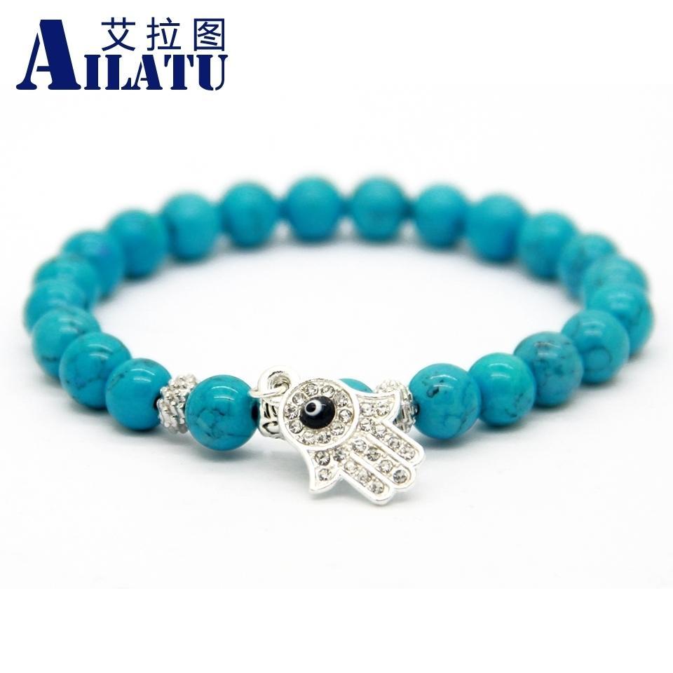 Ailatu мода 8 мм имитация каменные бусины Кристалл Фатима рука Хамса браслет этические ювелирные изделия