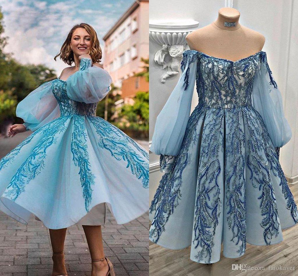 2020 Fashion Cocktail Party Dresses Off The Shoulder Appliqued Beads Long Sleeve Prom Dress Custom Made Tea Length Evening Gowns