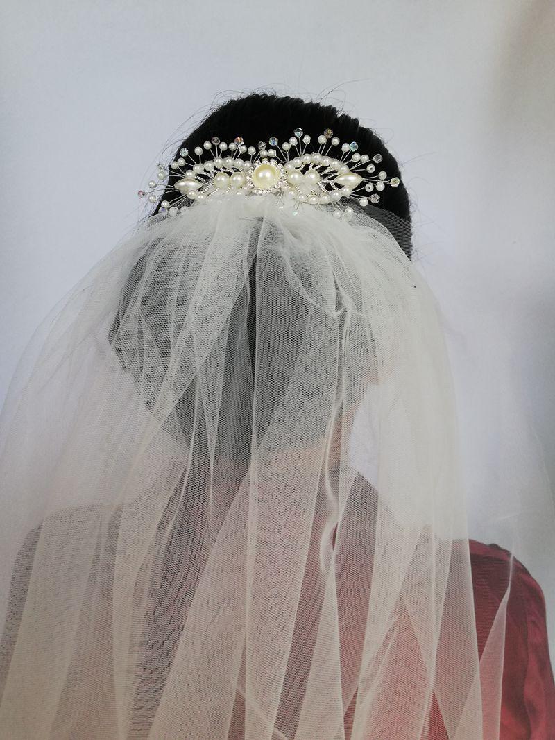Gelin Şapeli Düğün Peçe Bir Katmanlı Beyaz Gelin Peçe Tarak Gelin Aksesuarları Veu De Novia