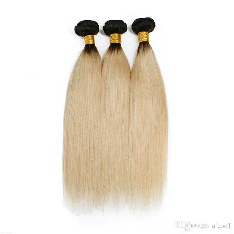 Ombre colore 1B / 613 pacchi brasiliani di capelli lisci bicolore biondo colore Ombre 3 fasci / lotto estensioni dei capelli umani 8-30 pollici
