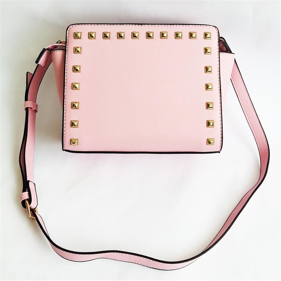 Lostsoul Marca mulheres bolsa de couro Toothpick Stripes Pasta Top-Handle Bags Designer Shoulder Negócios senhoras Rebites Black # 953