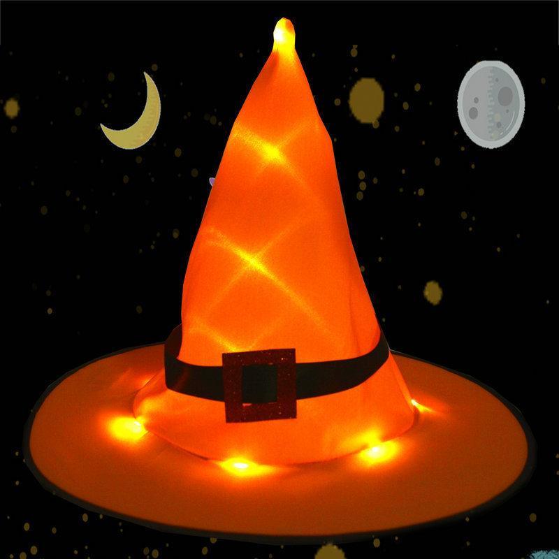 Halloween Hexenhüte Kopfbedeckungen Lumineszenz Orange Bring Buckle Hexenhüte Farbe Lumineszenz Hexenhüte Zaubererhut