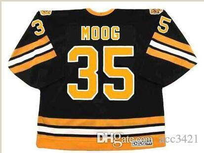 Custom Men Youth women Vintage #35 ANDY MOOG Boston Bruins 1990 CCM Hockey Jersey Size S-5XL or custom any name or number