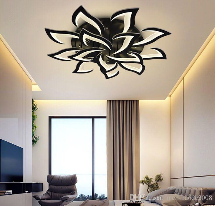 새로운 철 + 아크릴 LED 꽃잎 천장 램프 거실 연구 베드룸 부엌 가구 천장 조명 현대 LED 조명 블랙 MYY