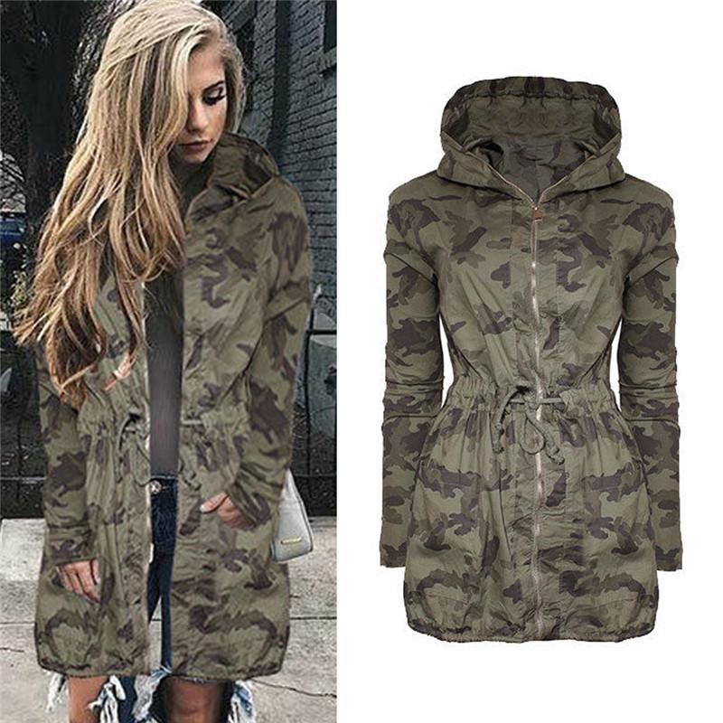 Fashion-2017 Winter Ladies Kimono Bomber Jacket Windbreaker Long Oversized Army Camouflage Womens Jackets And Coats Hooded Sweat Shirts