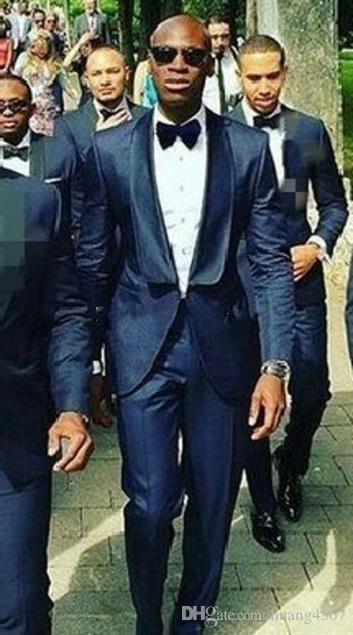 최신 원 버튼 네이비 블루 웨딩 신랑 턱시도 어깨 걸이 옷 깃이 신랑 신부 남성 저녁 식사 블라우스 정장 (자켓 + 바지 + 넥타이) 257
