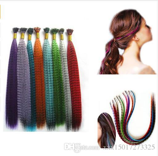 10pcs/pack Colorful Charming Grizzly Feathers Hair Extensions Long Straight Hairdressing Supplies blue,brown,rose red, pink