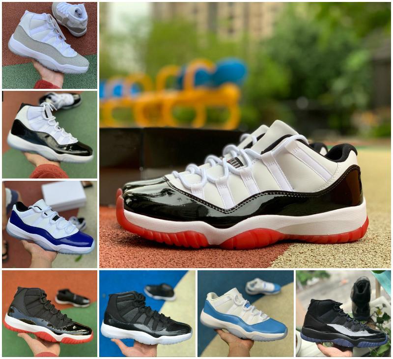 2020 Concord Bred 45 11s zapatos de baloncesto del Mens Rojo de medianoche Armada ósea baja Pink Platinum Tinte atasco del espacio 11 UNC zapatillas de deporte de diseño Bred