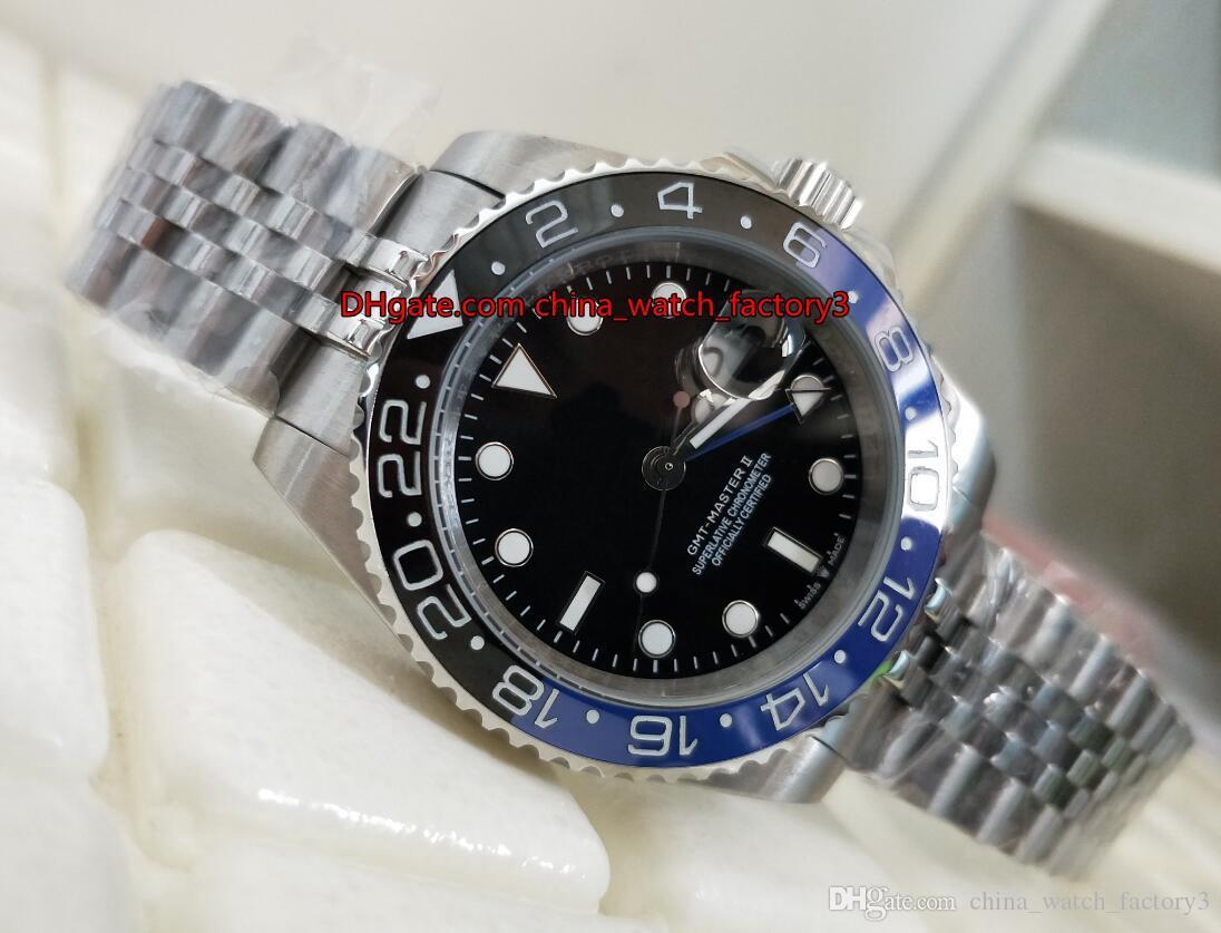 À ne pas manquer BaselWorld 40mm GMT Batman 126710 126710BLRO Noir Bleu céramique Lunette Asie 2813 Mouvement mécanique automatique Hommes Montres Montres