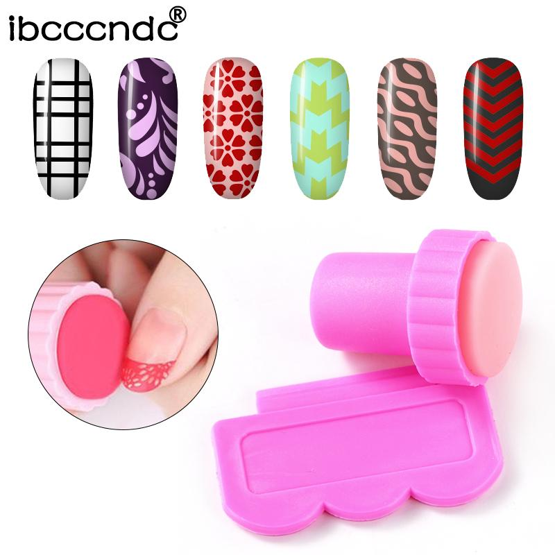 IBCCCNDC Pink Nail Art Stamping Scraper Set DIY Nail Art Decorations Polish Stamp Stamper Template Plastic Nail Art Tools Kit