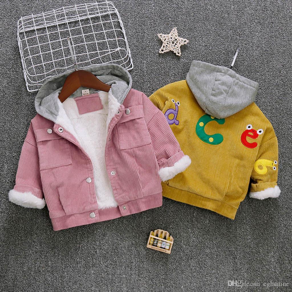 Kinder Mantel Winter Kinder-Jacken Junge Oberbekleidung Säugling festen Warm mit Kapuze Winddichtes Mantel Baby-Kleidung Mädchen Kleidung
