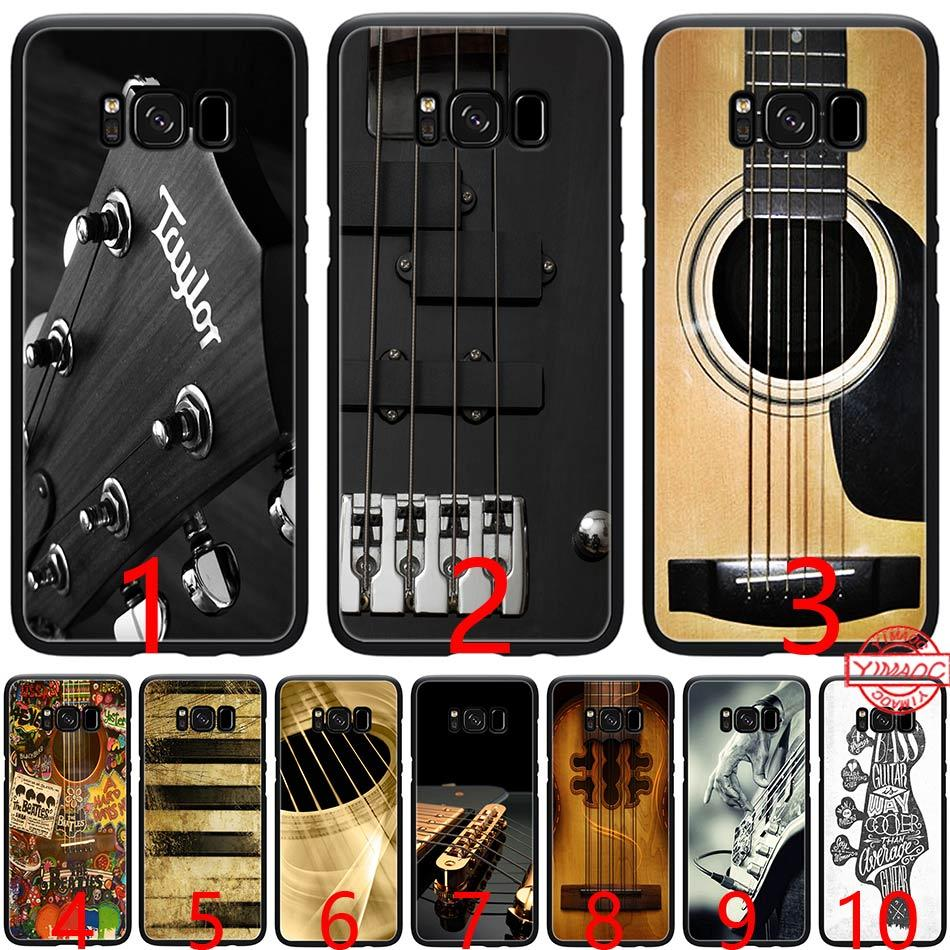 Bass Guitar Strings Music Guitares Instrument Soft Silicone Black TPU Phone Case for Samsung A3 A5 2016 2017 A6 Plus 2018 Cover