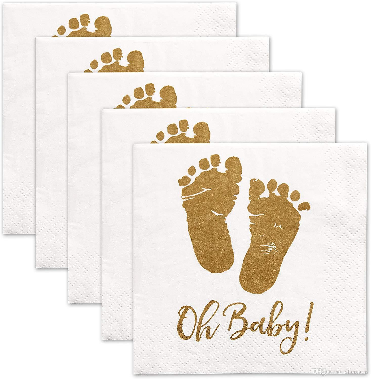 50 шт. / пакет Oh детские салфетки для напитков 3-слойные золотые ножки белые бумажные коктейльные салфетки для мальчика и девочки Baby Shower by Gift Boutique