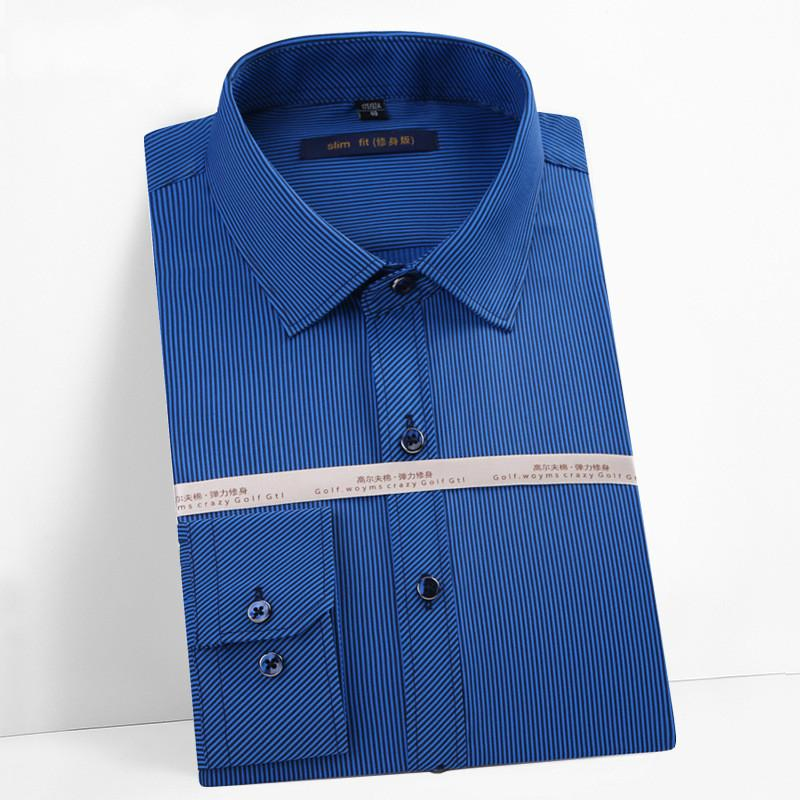 2019 della molla nuova camicia a strisce casuale Slim collare quadrato manica lunga non-ferro da stiro QC086 degli uomini della camicia maschile buon cotone