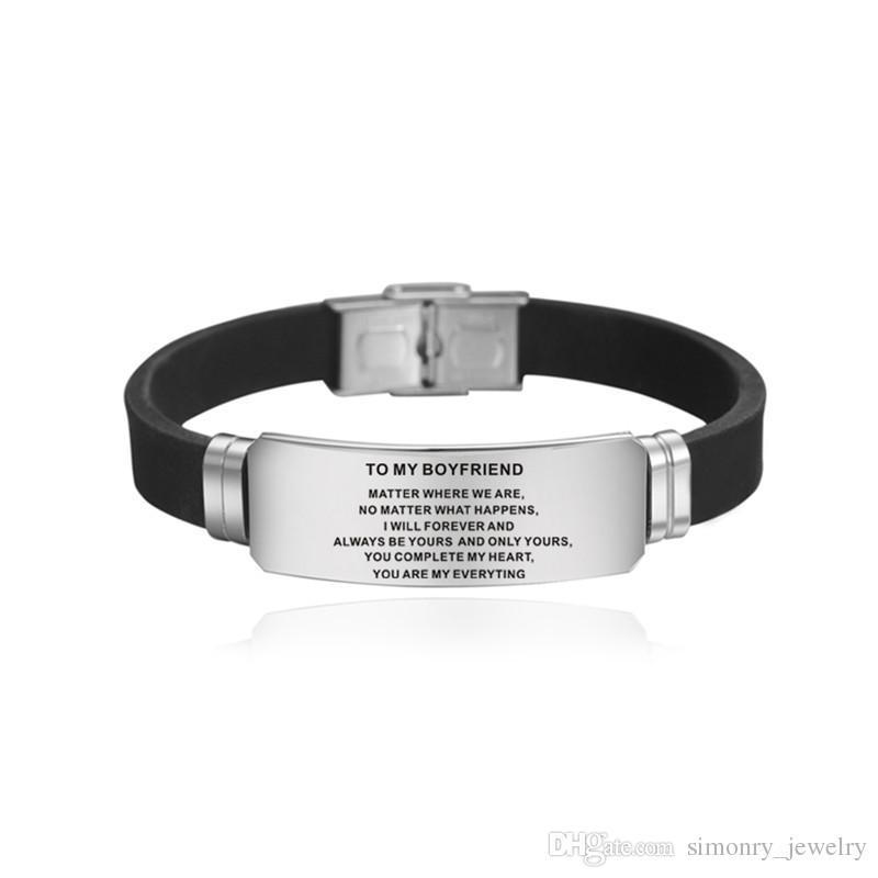 To My Husband Bracelet Stainless Steel Bracelets Gifts for Boyfriend Love Men Silicone Bracelet Love You Forever Fashion pulseras Wholesale