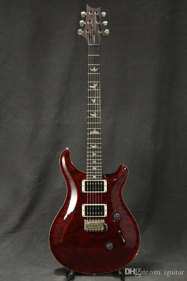Personalizado Padrão 24 1Library 10 Top Quilt Top regular Black Cherry guitarra elétrica acolchoado bordo Signature 24 trastes China fez Guitars