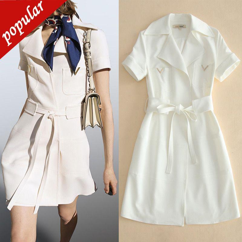 2019 Summer Autumn Women Elegant White Dress Ol Turn Down Collar Belt Short Sleeve Mini Dresses