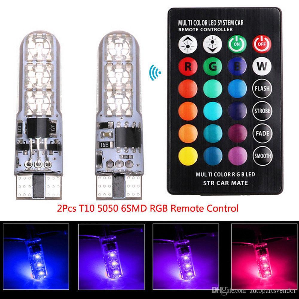 10x LED T10 Uzaktan Kumanda W5W 501 RGB Renk Değiştirme Araç Kama SID Yan Işık Çok Renkli LED Demo Lamba Ampul Uzaktan Kumanda Strobe ile