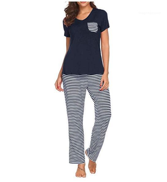 Bolso toda a temporada Womens Pijamas manga curta calças compridas Sets Homme Casual respirável Womens Pijamas Listrado