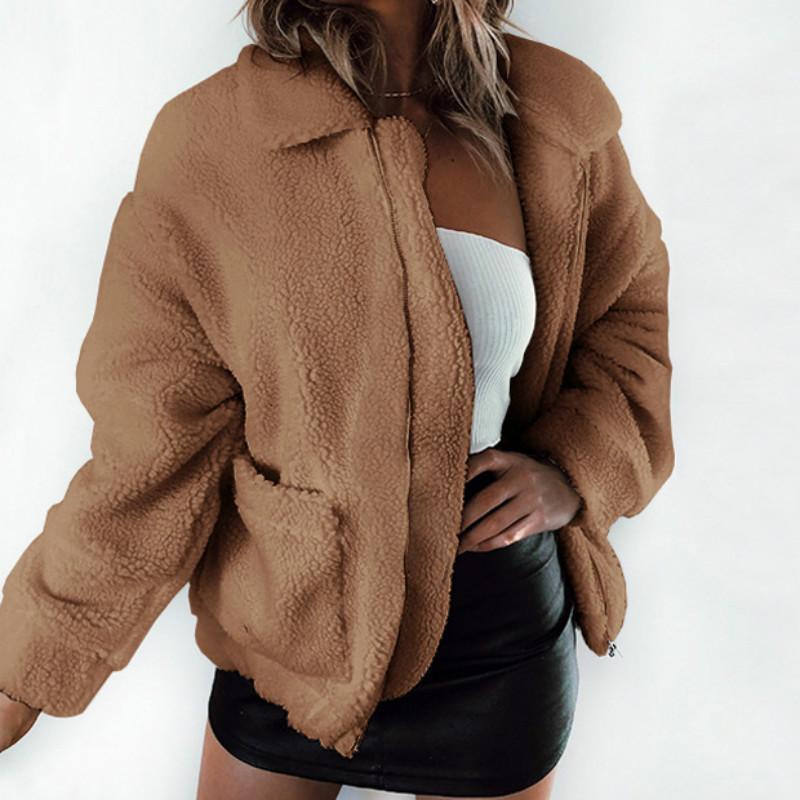 Cappotto di peluche sottile da donna sottile sciolto giacca di peluche oversize calda da donna casual casual plus size autunno inverno cappotto femminile