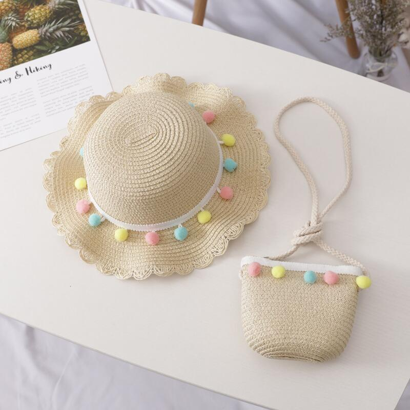 Cute Color Ball Straw Sunhat for Kids Summer Sun Visor Caps With Wide Wavy Brim Girls Beach Cap Floppy Hats bag two-piece set