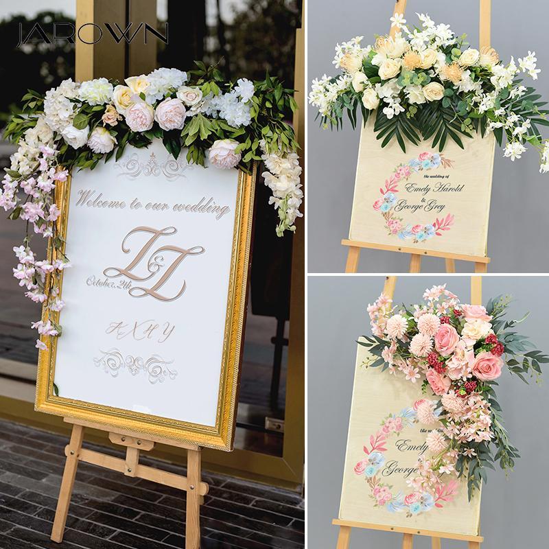 Guía JAROWN de boda de flores Fila signo positivo de simulación Floral Hotel creativo decoraciones de fotografía apoya Inicio Puerta flor CJ191203