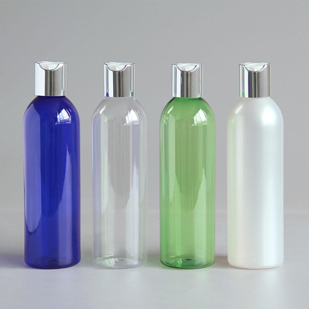 30PC 250ML إفراغ زجاجات غسول البلاستيك الألومنيوم الفضة القرص الأعلى كاب الصابون السائل حجم سفر العناية الشخصية SPA شامبو الحاويات