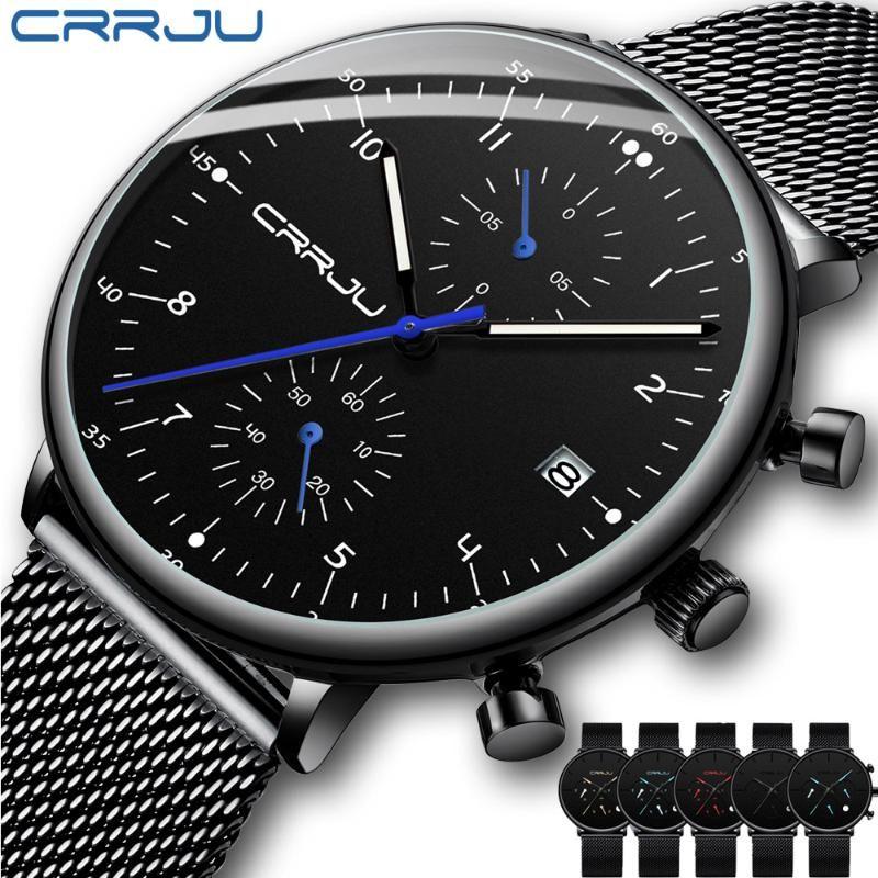 Mens Watch CRRJU Top Brand Men Stainless Steel WristWatch Men's waterproof Date Quartz watches Erkek Kol Saati
