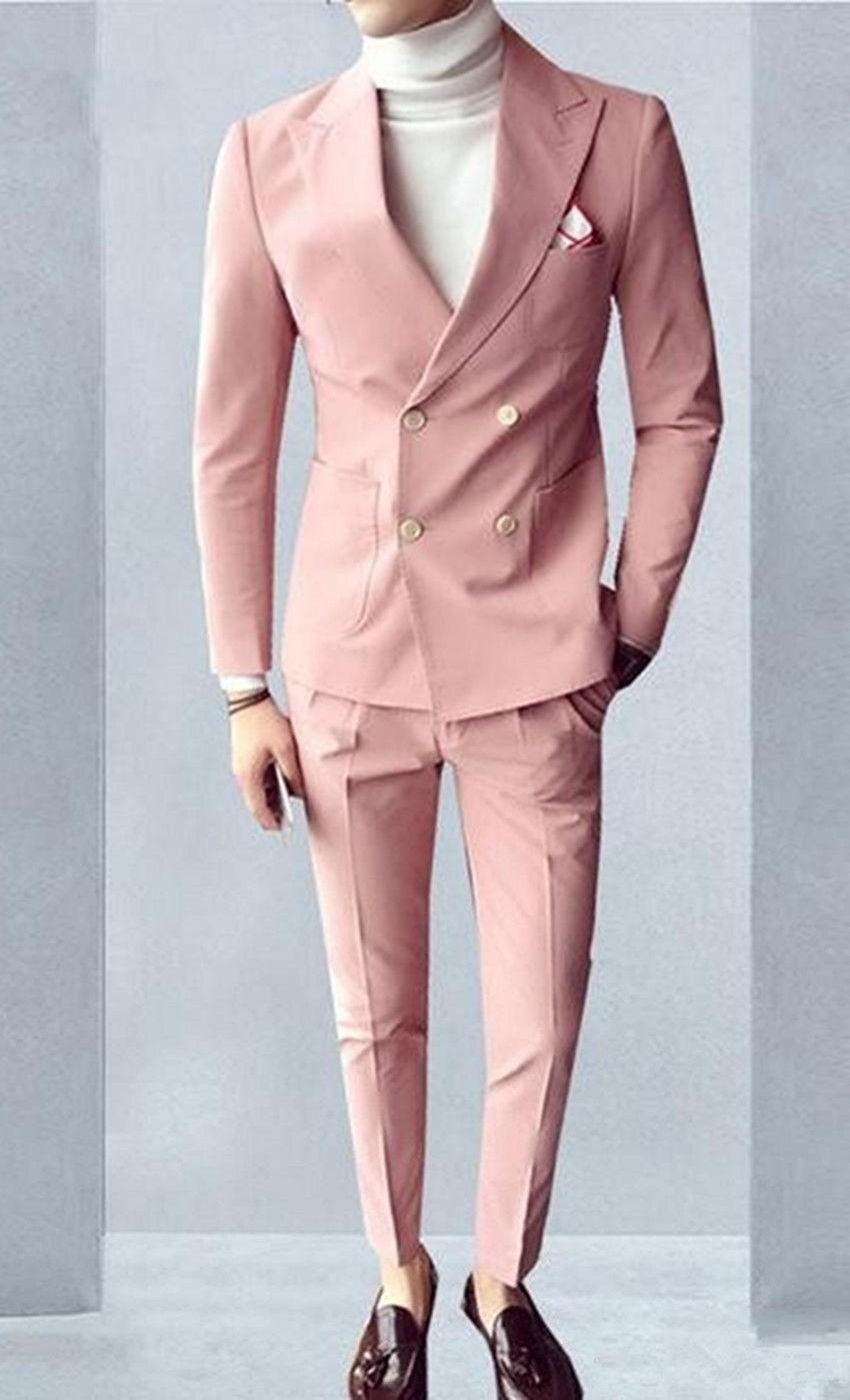 Yeni Stil Pembe Damat smokin çift Breasted Groomsmen Düğün Smokin Erkekler Resmi akşam yemeği Parti Balo Blazer Suit (Ceket + Pantolon + Kravat) 820