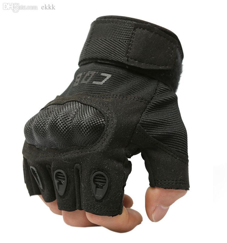 Leather Weight Lifting Finger Less Gloves Gym Fitness Training Exercise Workout