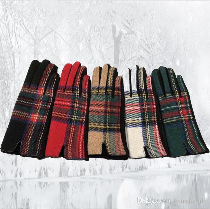 격자 무늬 장갑 여성용 자전거 겨울 장갑 모직 패션 장갑 가을은 따뜻한 야외 드라이브 장갑 그리드 장갑 액세서리 C6182을 따뜻하게 확인