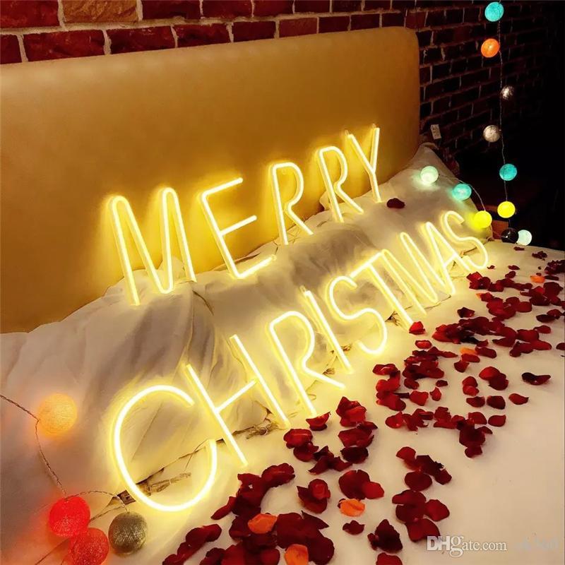 26 Carta LED Neon corda Sign Luz Marquee Alphabet Wall Light Hanging Decoração da festa de aniversário do casamento do Natal 3D Night Light Bedroom