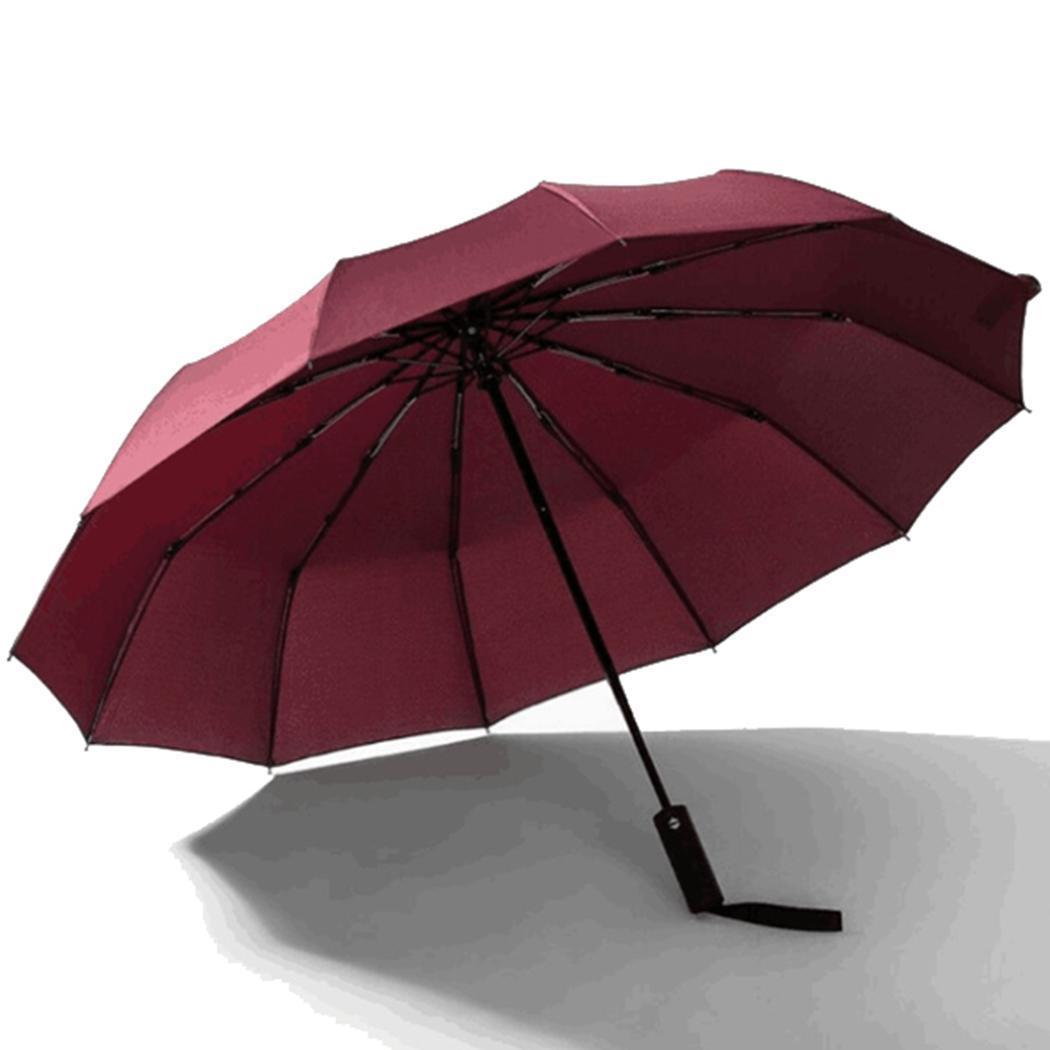 Üçlü Katlama Otomatik Şemsiye UV Koruma Kauçuk otomatik WINDBREAKER Şemsiyeler 12 Kemikler