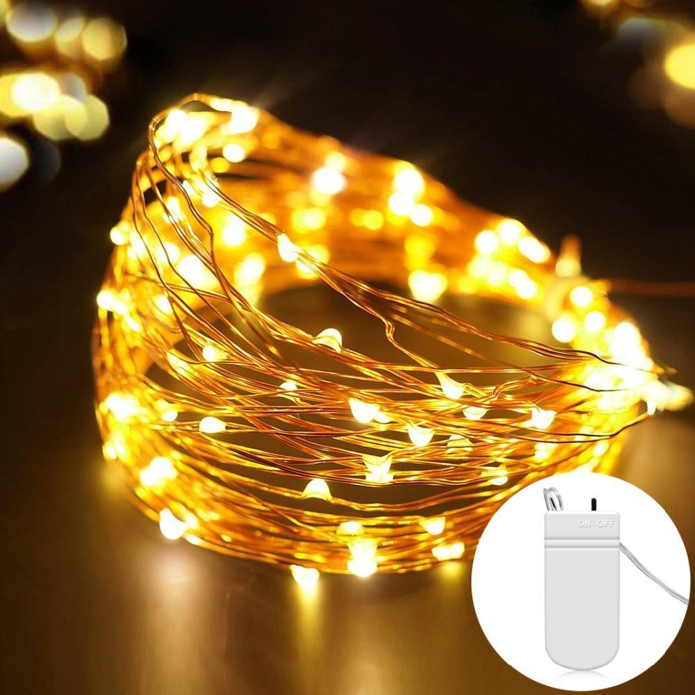 مشتغل جنية 2M 5M البطارية LED أسلاك النحاس سلسلة الأنوار للمصباح الزفاف عيد الميلاد مهرجان جارلاند الرئيسية الطرف الديكور