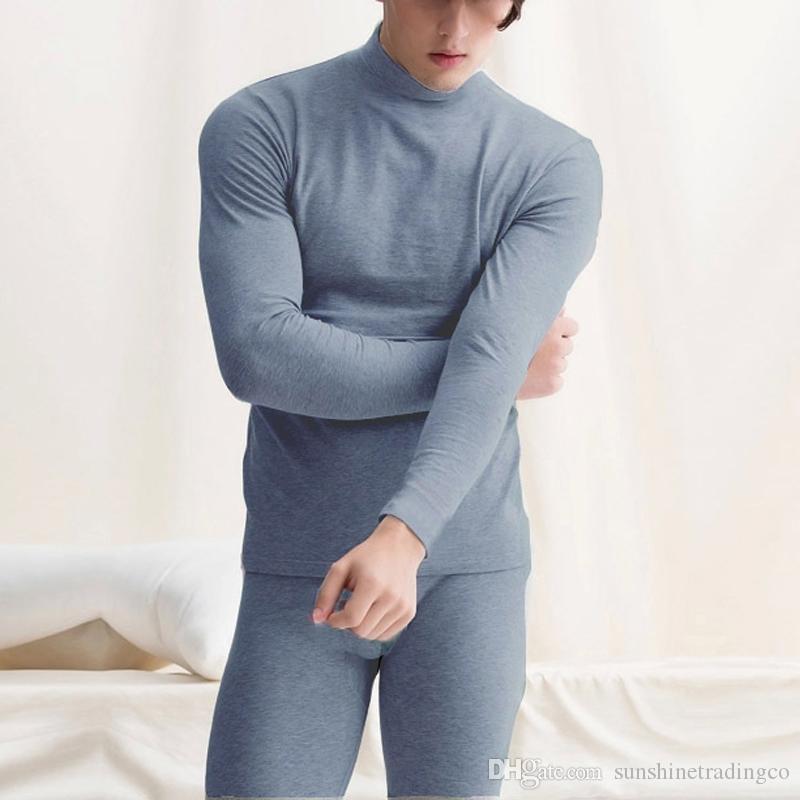 termico intimo inverno caldo degli uomini Top Pantaloni 2 pezzi Maschio Abbigliamento Set Nuovo arrivato Pullover Uomo Intimo termica Set Plus Size L-2X