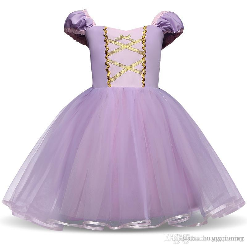 Fantasy Princess Girl Purple Gown Kids Summer Dresses For Girl Tutu Party Frock Children Cosplay Birthday Dress Up Baby Clothing