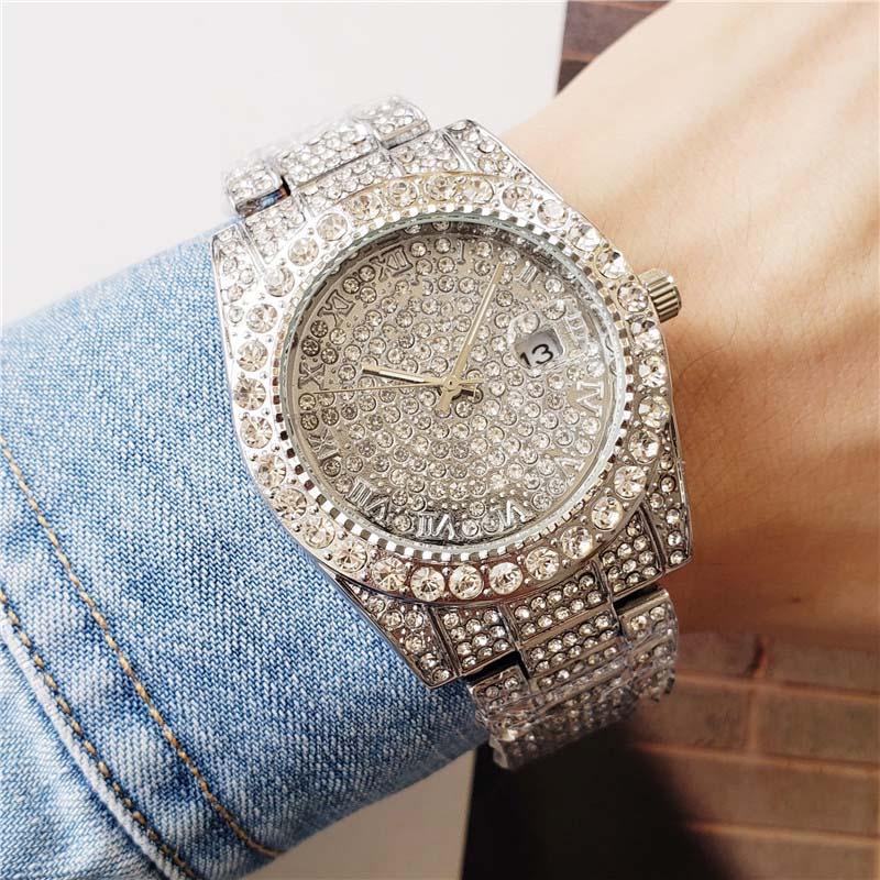 40mm nur Silber / Gold / Schwarz / Rose Gold voller Diamanten Fall für Männer Damen Lünette Datum Quarzuhr