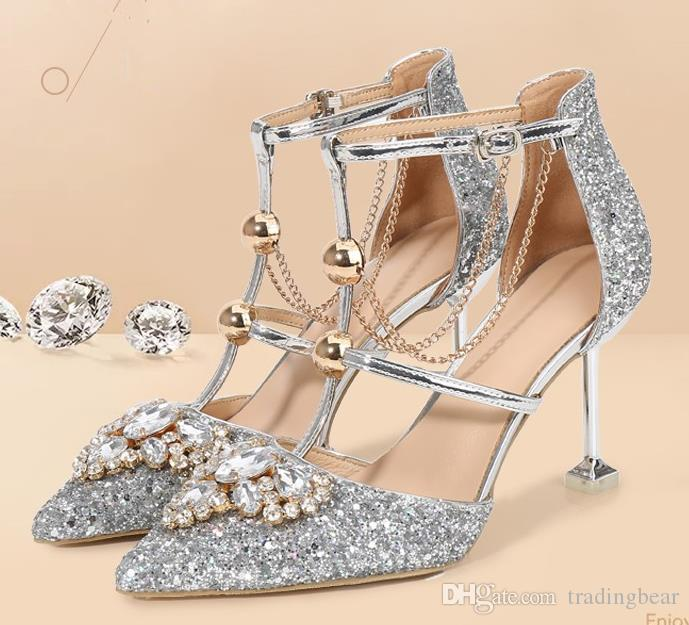 bridal wedding shoes silver crystal real leather T strappy high heels fashion luxury designer women shoes banquet Size 34 to 41 tradingbear