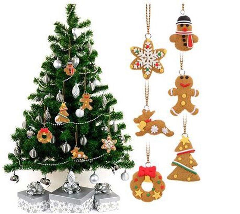 6pcs Yumuşak Çömlekçilik kar tanesi Man Ve Saray'ın Noel ağacı kolye Damla Süsler Gingerbread Noel ağacı Decor set