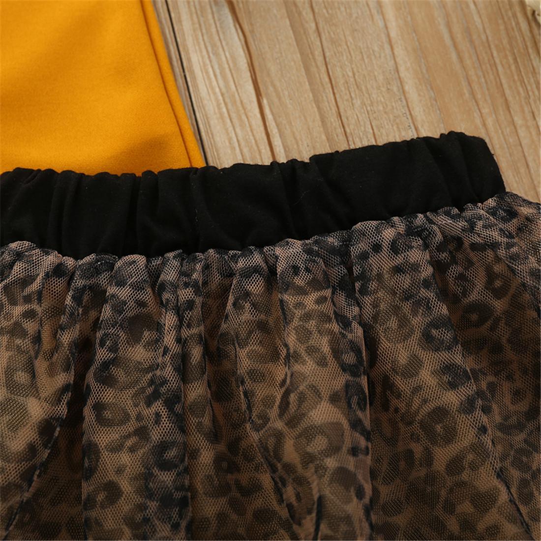 بلايز الصيف 1-5years المادة بنات الطفل كيد الملابس أصفر قصير كم ليوبارد طباعة توتو تنورة الزي مجموعة