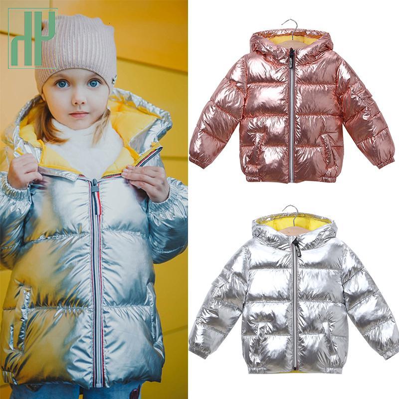 HH criança Meninas casaco de inverno rosa brilhante de prata snowsuit crianças jaqueta meninos com capuz Brasão parka crianças Casacos desgaste 2-7years MX191030