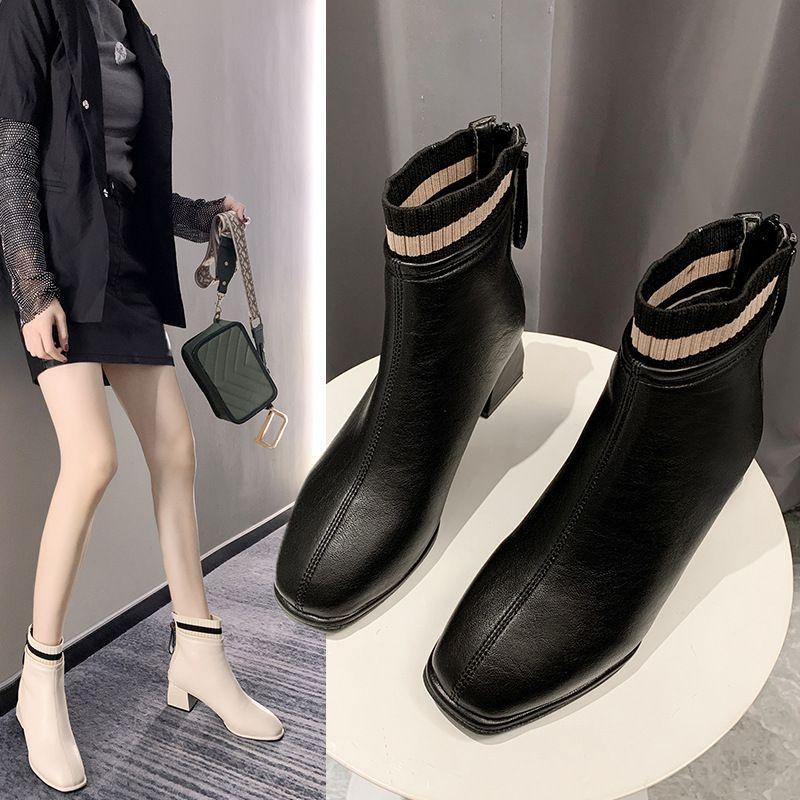 أحذية النساء روك المرأة الجديدة سحاب الشتاء الأحذية الجوارب السيدات فاخر مصمم ربط الحذاء حتى منتصف العجل جوارب ميد ميد