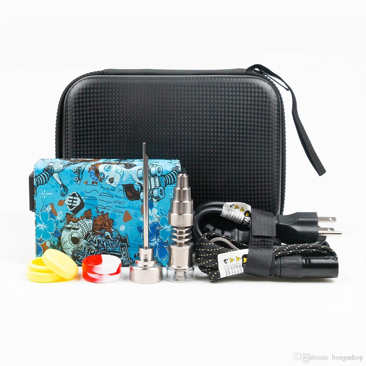 Portátil E-prego Elétrico Dab Pen Rig Rig Wax PID Caixa de cachimbo de água com titânio Aquecedor de bobina de bobina de quartzo Kit de silicone